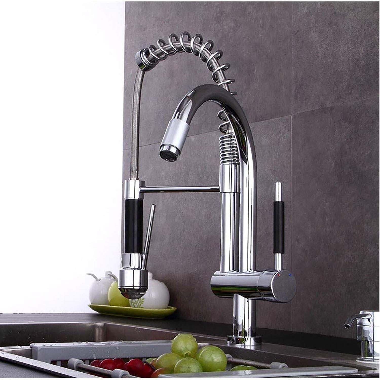 XIAOL Home Alle Kupfer Küchenarmatur führte Waschbecken Wasserhahn Frühling Pull-Typ kalt und hei.