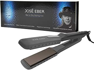 Jose Eber Wet & Dry Flat Iron Straightener Dual Voltage 110V-240V, Use on Wet or Dry Hair, Wide Floating Plates, Charcoal