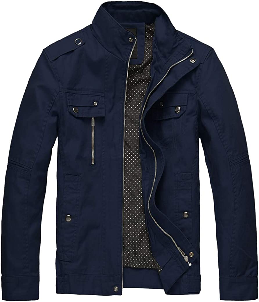 Wantdo Credence Men's Max 59% OFF Cotton Lightweight Fi Casual Jacket Military
