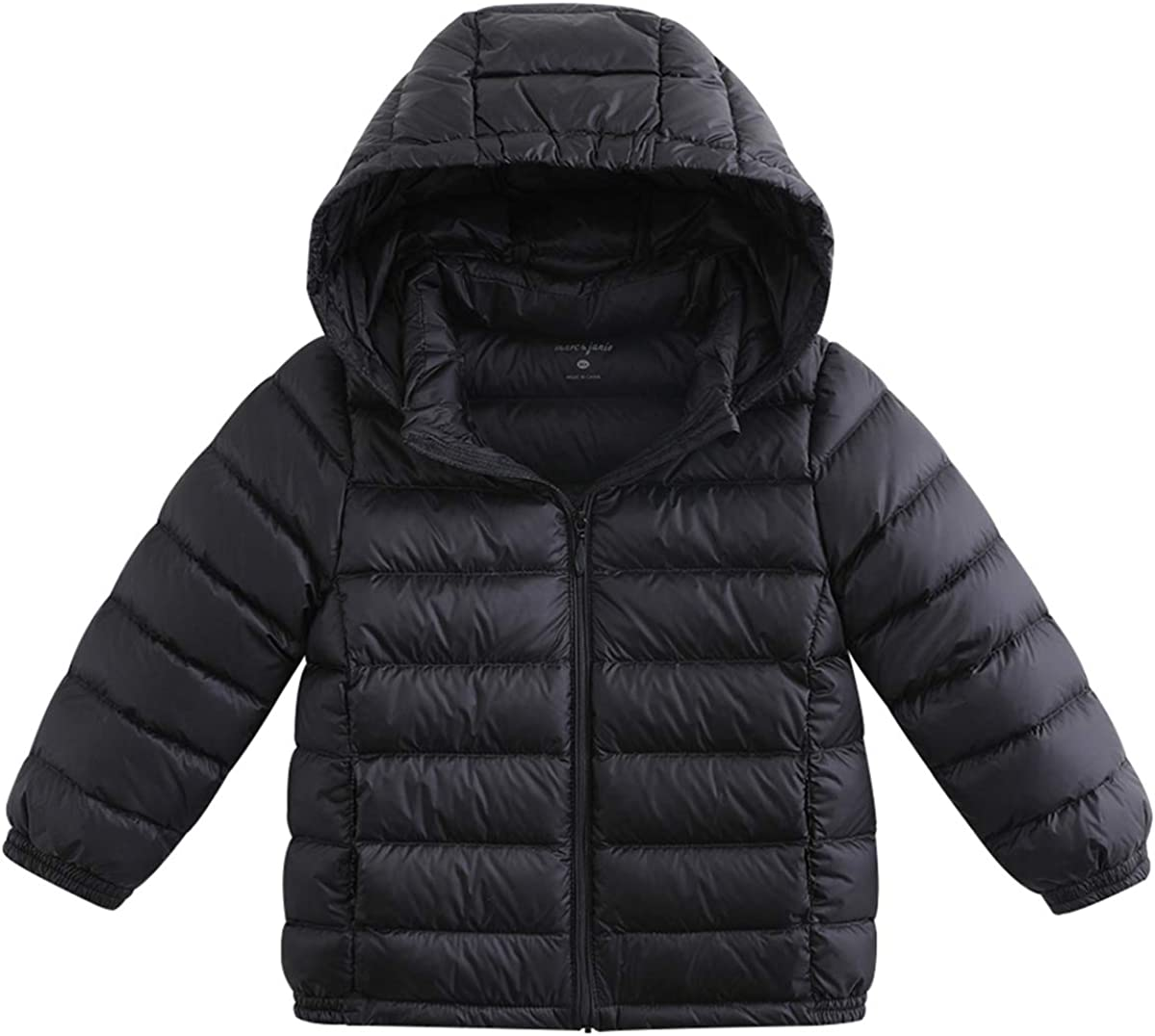 marc janie Girls Boys' Light Weight Down Jacket Kids Removable Hooded Packable Down Puffer Coat Winter Outerwear