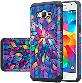 Galaxy J3 Case, Galaxy Sky Case, J36v Case,Galaxy Express Prime,Galaxy Sol,Galaxy Amp Prime Case Hybrid Dual Layer Defender Protective Case Compatible for Samsung Galaxy J3v, Rainbow Flower