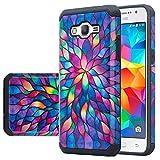 Galaxy J3 Case, Galaxy Sky Case, J36v Case,Galaxy Express Prime,Galaxy Sol,Galaxy Amp Prime Case Hybrid Dual Layer Defender Protective Case Compatible for Samsung Galaxy J3v, Rainbow Flower