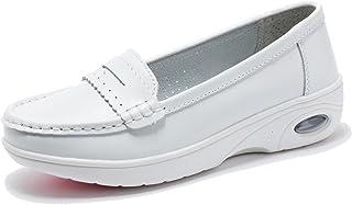 Moonwalker Women's Leather Health Care Slip-On Loafers Nurse Shoes