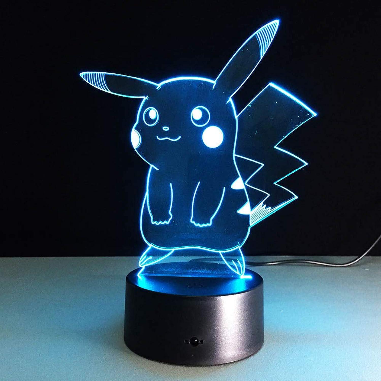 SJSF L Heiß, für Pokemon Go, Action Figure 3D-Atmosphäre Illusion Nachtlicht, für Pikachu, Schlafzimmer Kinder Geschenk Kreative 3D-Illusion Lampe,7Farberemotecontrol B07NT6MYWF    Einzigartig