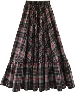 Femirah Women's Red Elastic Waist A Line Long Maxi Woolen Plaid Skirt