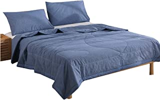 NTCOCO 3 Piece Comforter Set Thin Quilt Lightweight Comforter,100% Washed Cotton,Machine Washable,Soft Comfy Breathable Can Sleep Naked (Navy Blue, Queen)