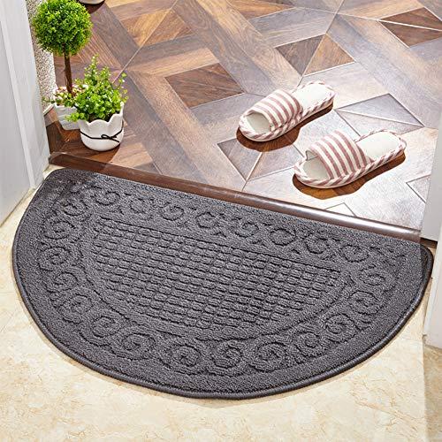 ZZXXKK Rug Carpet Durable Half Round Doormat, Easy to Clean Non Slip Anti Slip Rug Carpet Multicolor-Gray 40x60cm(16x24inch)