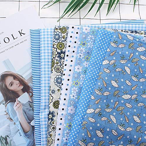 TOUCHNEW 7 Piezas de 50 * 50 cm Tela de 100% Algodón Utilizada para la decoración de Costura Artesanal Telas Patchwork DIY. (Azul)