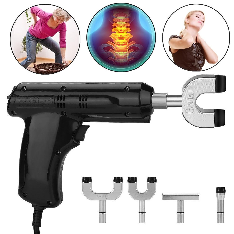 電動カイロプラクター、カイロプラクター、背骨と胸郭を調整するための身体緩和ツール、黒