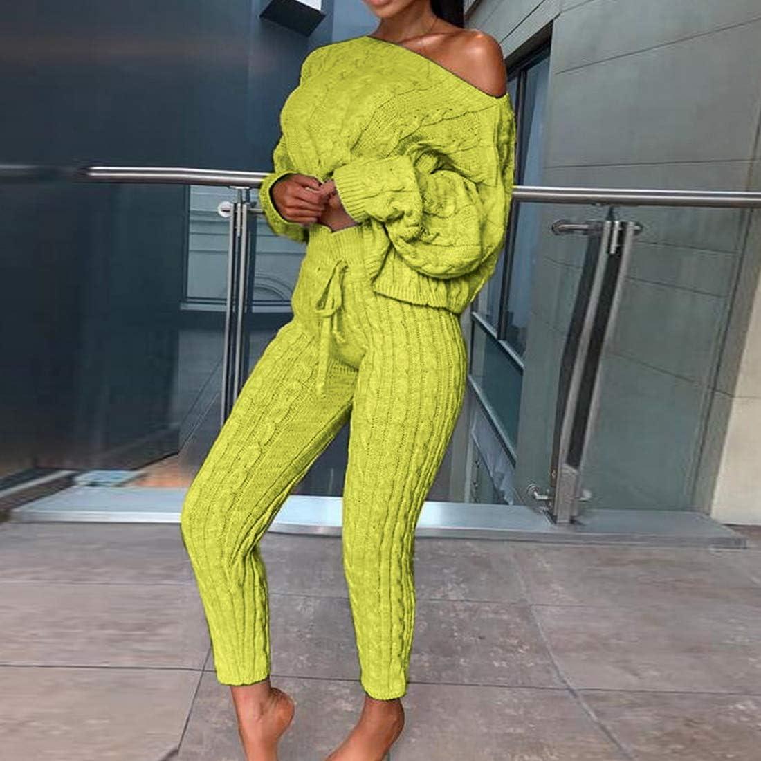 Shujin Damen 2 St/ück Strickanzug Bekleidung Set Outfits Langarm Schulterfrei Strickpullover und Paket H/üfte Hosen Beil/äufig Freizeitanzug Sportanzug Loungewear Pullover Suit
