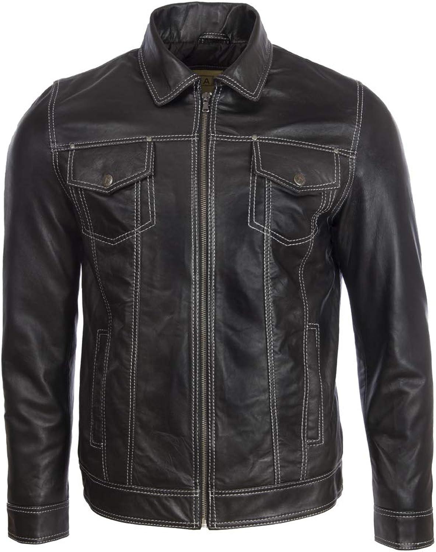 Aviatrix Herren Echtleder Klassische Mode Harrington Jacke (AGQ5) B07PCHHVC5  Eleganter Stil
