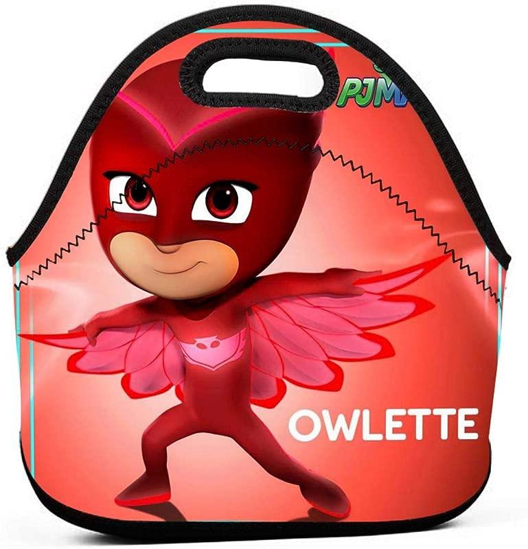 Insulated Neoprene Picnic Storage Bag Gourmet Handbag For Men Women Red Amaya PJ Masks Owlette Characters Poster Lunch Bags Reusable Zipper Bento Lunch Box Food Tote