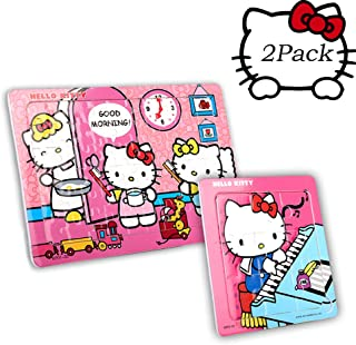 SNUUR-ZH Hello Kitty 2 in 1 Puzzles for Kids 60 and 9 Pieces Jigsaw Puzzle Set for Children Toys Ages 4-8 Birthday Gifts for Girls,Learning Toys