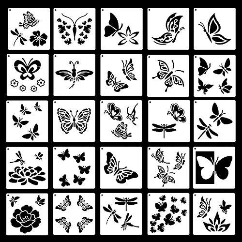 25 Piezas Plantillas de Mariposas Plantillas de Dibujo Mariposas Manualidades Painting Stencils Reutilizables para Pintar para Bricolaje Pintura de Álbumes de Recortes Plantillas