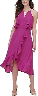 KENSIE Womens Purple Keyhole Below The Knee Hi-Lo Party Dress AU Size:10