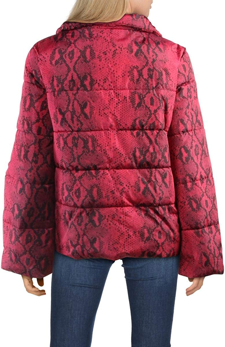 Betsey Johnson Womens Betsey's Best Quilted Snake Print Puffer Jacket Pink XL