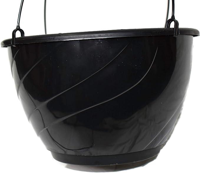 "DECO SWIRL 12/"" BLACK Plastic Hanging Baskets {Set of 2}"