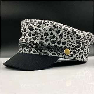 Fashion Hats Wool Felt Newsboy Cap Men Women Beret Cap Ivy Cap Driving Hat Leopard Casual Hat Sailor Cap Outdoor Octagonal Hat Military Uniform Flat Hat Elegant Hats (Color : Gray, Size : 56-58CM)