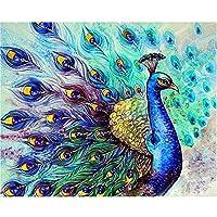 DIY数字油絵 - 青孔雀の動物 - 大人のためのDIY油絵初心者、キャンバス40x50cm絵筆とアクリル絵の具で額縁なしの塗装、家の壁の装飾