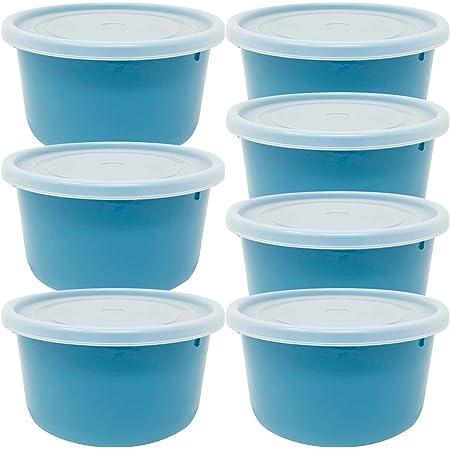 Codil 7× conteneurs de stockage, conteneurs réutilisables, boîtes à lunch en plastique, rondes basses avec couvercles flexibles, pour congeler le stockage et la conservation des aliments, bleu 0.6L