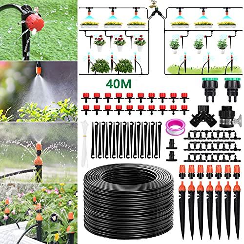 """Tencoz Sistema de riego de jardín, 40m Kit de riego por Goteo Riego Manguera de 1/4"""" automático Rociadores automáticos Kit de riego de jardín para Jardines, Macizo de Flores, Plantas de Patio"""
