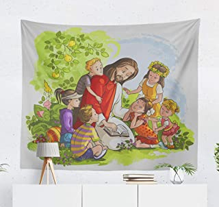threetothree 50x60 Inches Tapestry Wall Hanging Interior Decorative Jesus Reading Bible with Children and Coloring Book Christian for Bedroom Living Room Tablecloth Dorm
