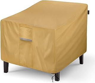 Sunkorto Funda Impermeable para Silla de Patio, Resistente al Agua, para Exteriores, césped, Muebles de Patio, Color marrón Claro, 89X97X79cm, Paquete de 1