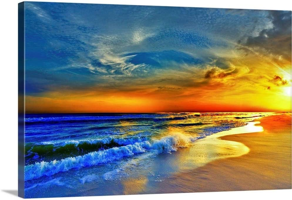 Red Orange Blue Sunset Beach Sea Waves Canvas Wall Art Print 30 X20 X1 25 Amazon Ca Home Kitchen
