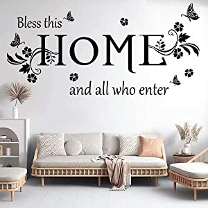 Black Vinyl Wall Sticker Wall Word Quotes Bless This Home and All who Enter Wall Decals Flowers Butterfly Wall Decor Sticker for Entryway Living Room Home Decor.
