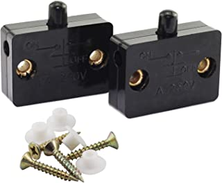 Tegg 2 PCS Cabinet Lamp Switch Wardrobe Touch Switches Drawers Light Switch Open On Close Off Ultrathin Black