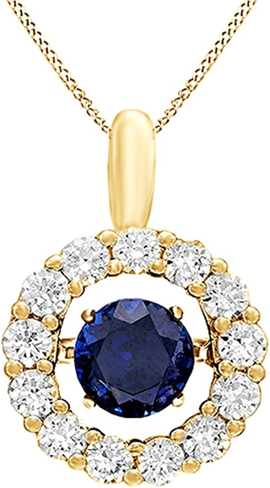 Jewel Zone US Dancing Simulated Blue White Sapphire Pendant Necklace in 14K Gold Over Sterling Silver