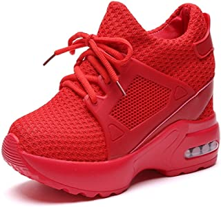 Women Wedge Sneakers Hidden High Heel 9 cm Solid Color Breathable Mesh Slip On Shock Absorption Air Cushion Ladies Casual Platform Shoes (Color : Red, Size : 4 UK)