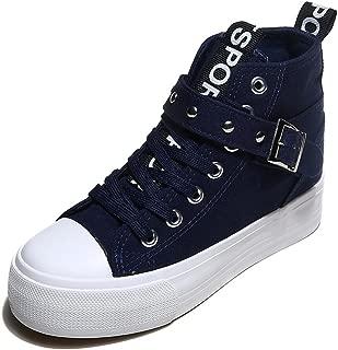 Hi-top Platform Shoes, Raised Canvas Shoes, Women's lace Sneaker Platform