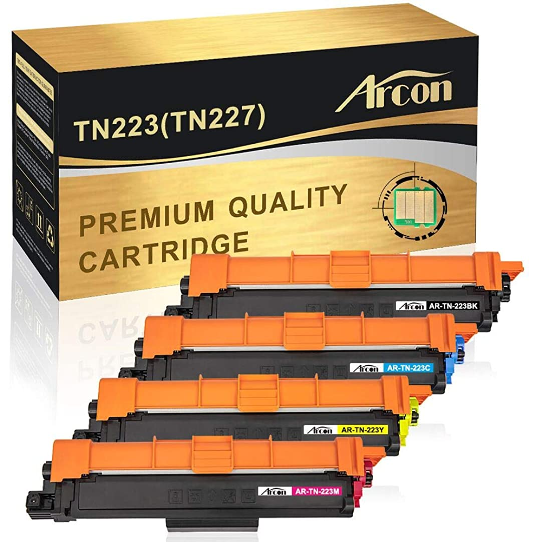 Arcon Compatible Toner Cartridge Replacement for Brother TN223 TN227 TN 223 TN227BK Brother MFC-L3770CDW MFC-L3710CDW MFC-L3750CDW HL-L3270CDW HL-L3290CDW HL-L3210CW HL-L3230CDW L3230CDN- with CHIP