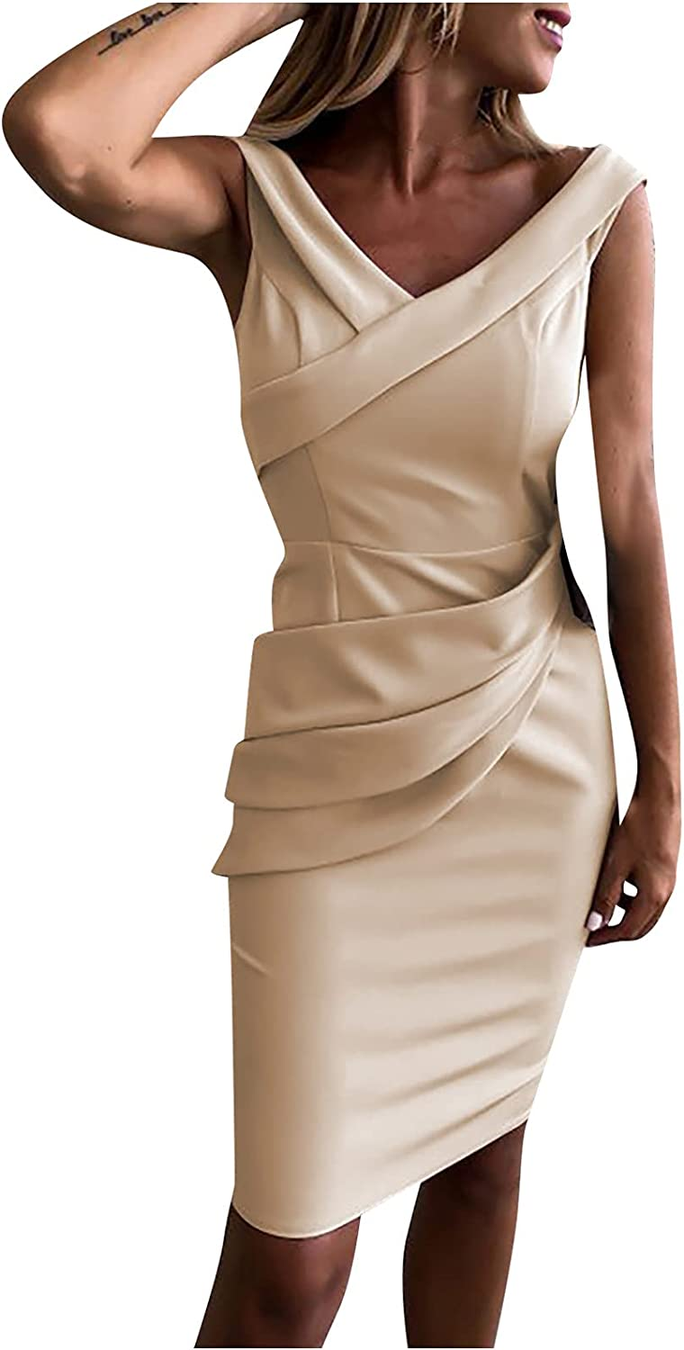 HGps8w Women Sexy V-Neck Vintage Dress Slimming Ruched Sleeveless Pencil Bussiness Wear to Work Dress