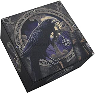 PTC 4 Inch Raven Spell Caster Mirror Square Jewelry/Trinket Box Figurine