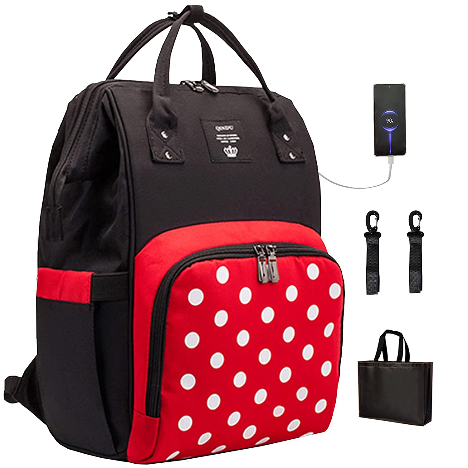 Cute Diaper Bag Backpack for Baby Girls/Boys,Cinkerr Personalized Polka Dot Large Capacity Travel Backpack with USB Port for New Moms/Dads,Baby Shower Gifts,Red White Printed Fashion Waterproof Tote