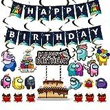 BAIBEI Theme Party Decoration Set, 32pcs Kit de Decoraciones de Cumpleaños Birthday Party Decoraciones Banner de Feliz cumpleaños, Globo, Espiral, Adorno para Tarta