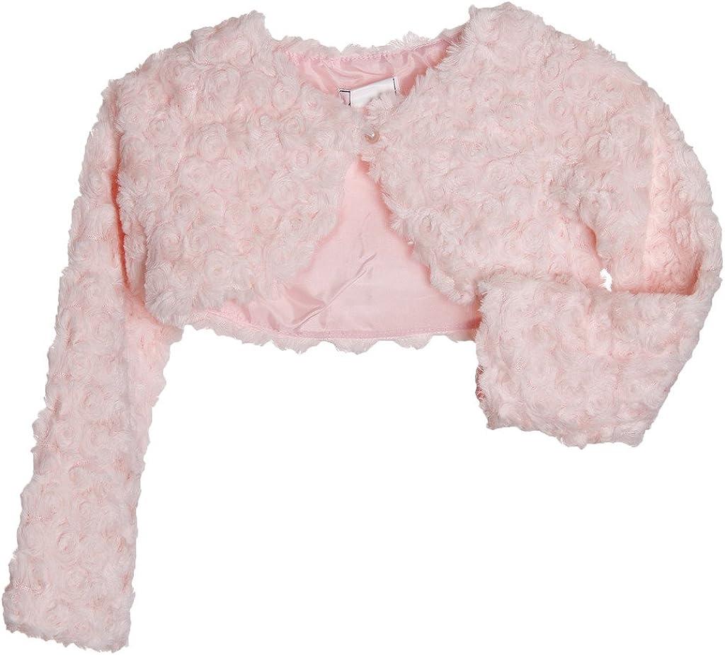 Girls Tufted Plush Long Sleeve Bolero (6, Pink)