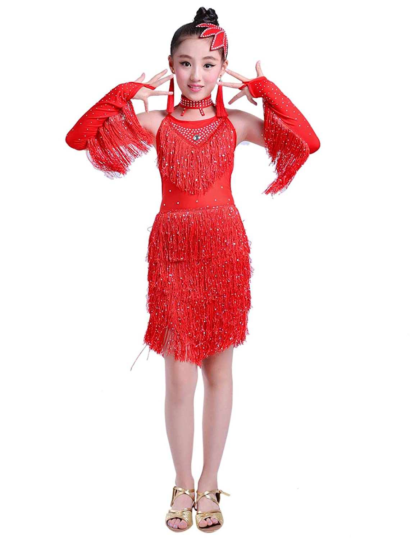 スパンコール フリンジ Latin Dance Dress ガールズ 社交ラテンダンス衣装 - 子供たち ワルツラテン専用ドレス 練習用 競技用 ラテンダンス発表会用ドレス [BESBOMIG]
