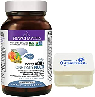New Chapter Multivitamin for Men 50 Plus, Every Man's One Daily 55+ with Fermented Probiotics + Whole Foods + Astaxanthin - 72 Vegetarian Tablets Bundle with a Lumintrail Pill Case