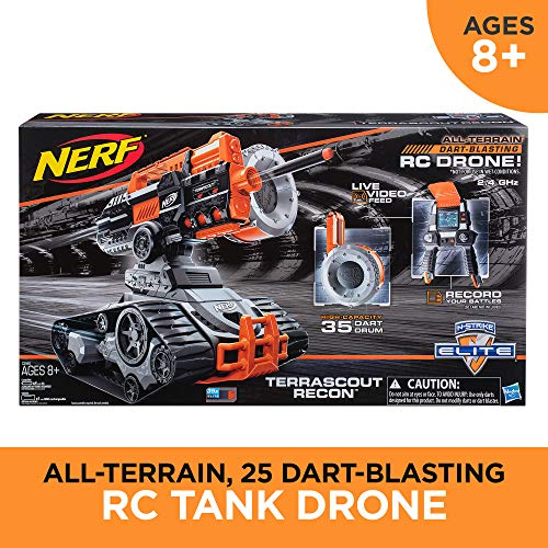 NERF TerraScout Recon Toy RC Drone N-Strike Elite Blaster with Live Video Feed 18 Official Elite Darts and Rechargeable Battery for Kids, Teens, and Adults