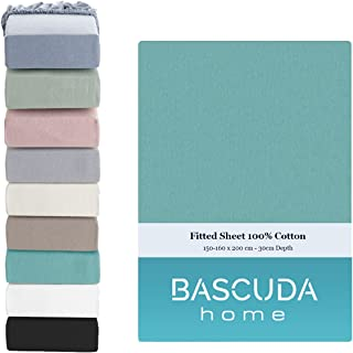 Bascuda Drap Housse 160x200 x 30 cm - 100% Coton Souple Jersey - Respirant Drap Housses pour Matelas - ( Bleu Sarcelle )
