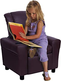 Windaze Children Recliner for Little Boys Girls Small Sofa Chair with Cup Holder Soft Headrest for Boys Girls,Brown