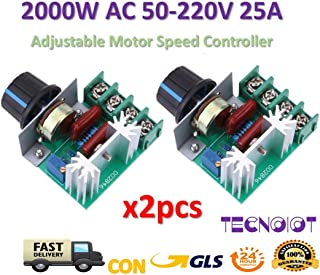 TECNOIOT 2pcs AC 50-220V 2000W SCR Dimming Dimmer Adjustable Motor Speed Controller Thermostat
