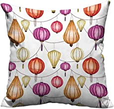 YouXianHome Throw Pillow Cover for Sofa Colorful Chin Lanterns Sky Ative Original Happin Purple Red Orange Textile Crafts (Double-Sided Printing) 13.5x19 inch