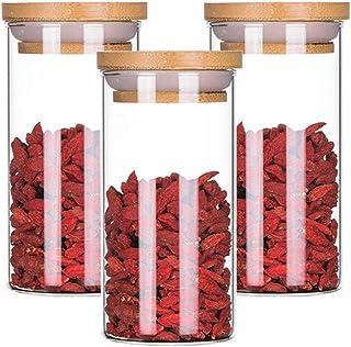 Lot de 3 boîtes de rangement en verre transparent avec couvercle hermétique pour céréales, thé, épices