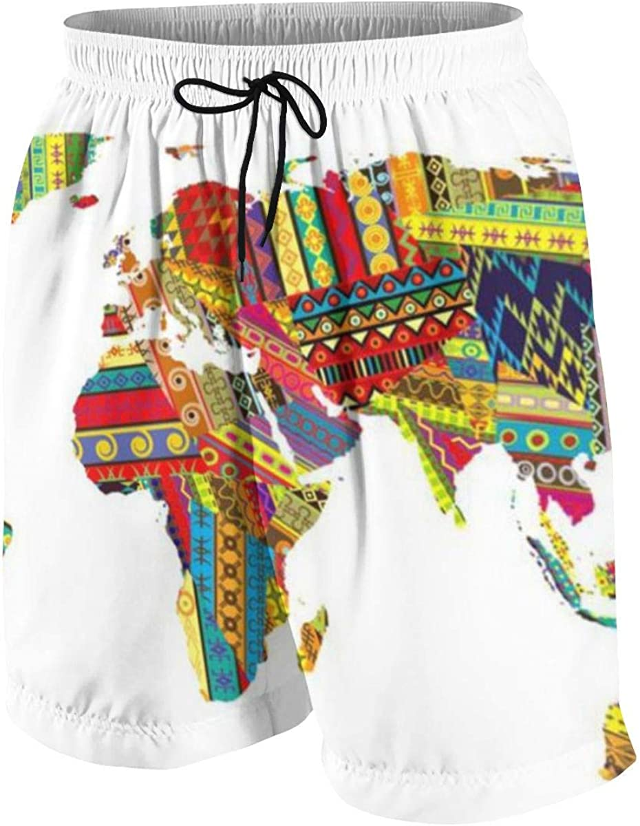 Africa Map On Ethnic Carpet Teen Boys Boardshorts Breathable Surf Beach Pants Casual Beach Shorts Mesh Lining