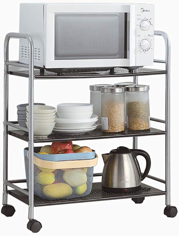 3-Tier Carbon Steel Kitchen Shelf Square Trolley with Wheels Floor Bathroom Storage Rack Storage Shelf -by TIANTA (Size   60  32  75cm)
