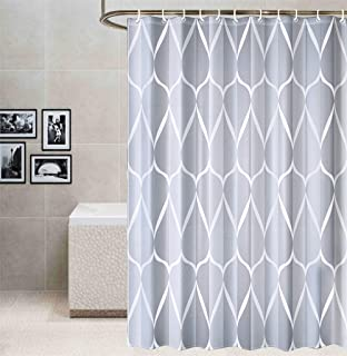 Raymall Grey Shower Curtain Gray White Teardrop Pattern Water Drop 72x72 Inches Waterproof Washable Polyester Fabric with Hooks for Bathroom Decor (Multi2-Waterdrop)